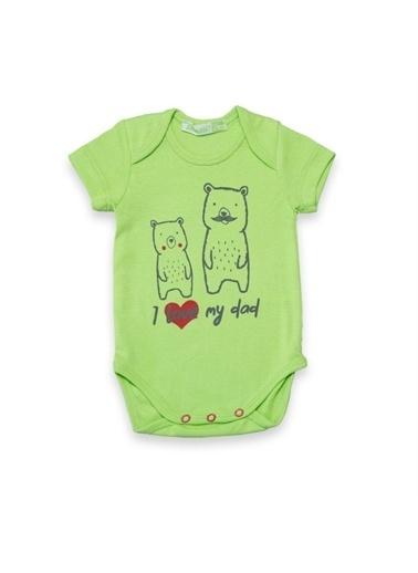 Vip Bebe Bebessi L Love My Dad Ve Ayıcık Baskılı Bebek Badi Yeşil